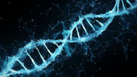 Abstract Motion Background - Digital Binary Polygon Plexus DNA molecule 4k Loop Animation