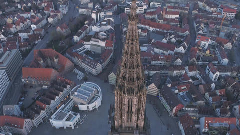 Ulm Minster Tower Sunrise With Drone From The Top Footage