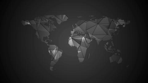 Black tech polygonal world map video animation GIF