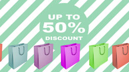 50 percent sale sign with animated shopping bags Footage