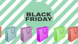 BLACK FRIDAY sign with animated shopping bags Footage