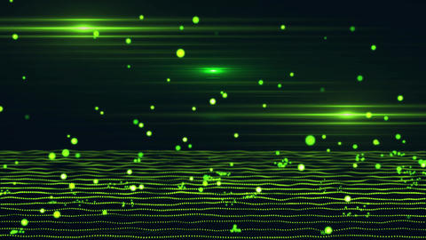 3D Green Bouncing Cyber Particles Virtual Environment Background Animation