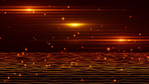 3D Orange Red Bouncing Cyber Particles Virtual Environment Background Animation
