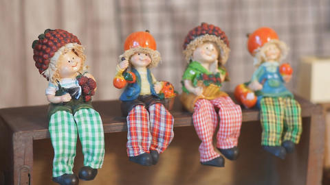 Colorful Textile Dolls Handmade put on Shelves for Home Decor Footage