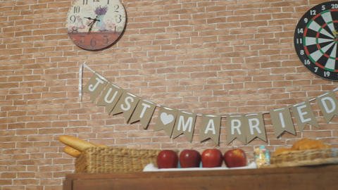 Just Married Hanging Flag, Wedding Decoration Footage