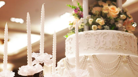Beautiful Cake and candle for wedding party Footage