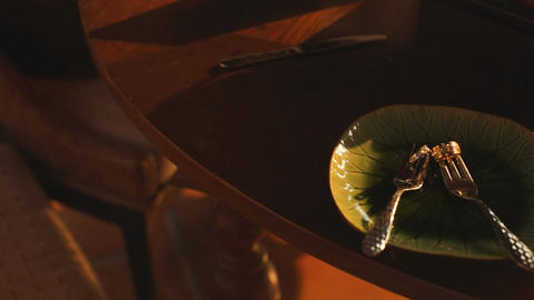 Wedding Rings with Couple Fork on Green Ceramic Plates and Sunlight Reflection Archivo