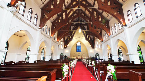 Church interior with wooden bench Stock Video Footage