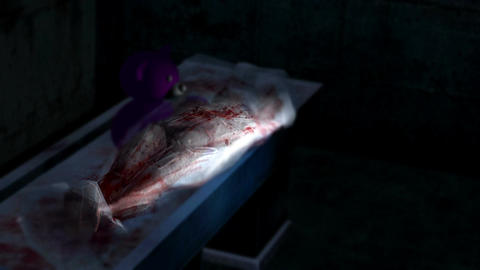 spooky and scary with low light dirty interior and dead body - Horror scene anim Animation