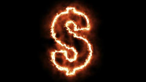 hot burning letter on black background Animation