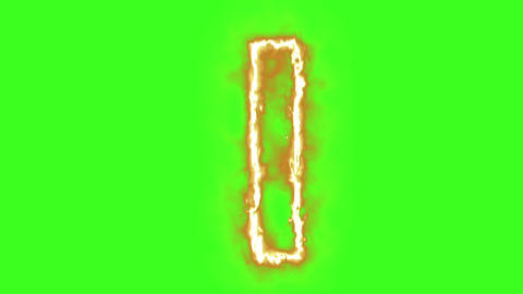 hot burning letter on green screen Animation