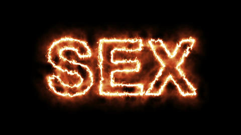 Text animation of the word SEX burning on fire Animation
