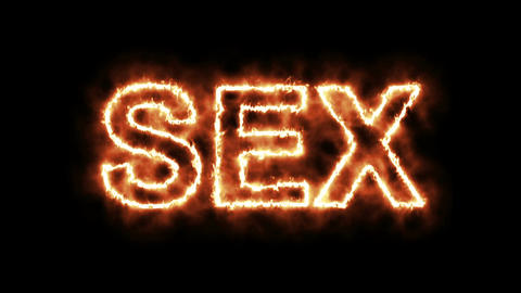 Text animation of the word SEX burning on fire, Stock Animation