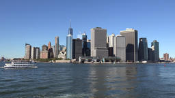 USA New York City southern tip of Manhattan seen from Governors Island Footage