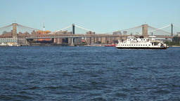 USA New York City East River Brooklyn Bridge and Manhattan Bridge Footage