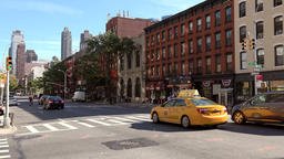 USA New York City Manhattan 10th Avenue with bicycle courier and cars Footage