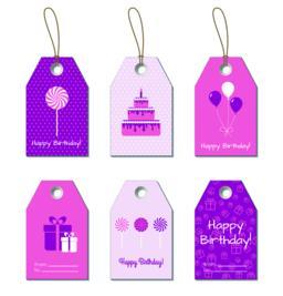 Happy Birthday vector tags, labels Vector