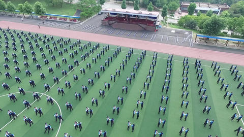 Police arrest drill training aerial photography ビデオ