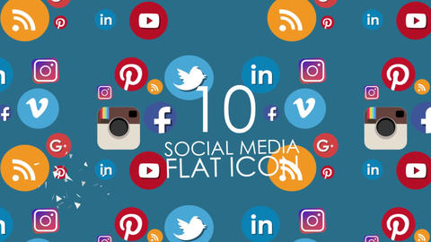 10 Animted Social Media Icon Pack After Effects Template
