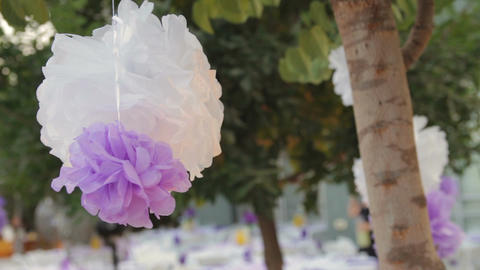 Purple and white birthday party decoration Image