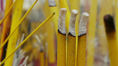 Buddhist Smoky Sticks Close-Up Image