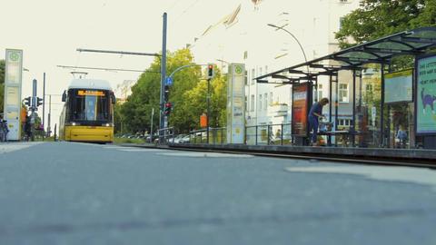 Tram railway platform in the street of Berlin city Footage