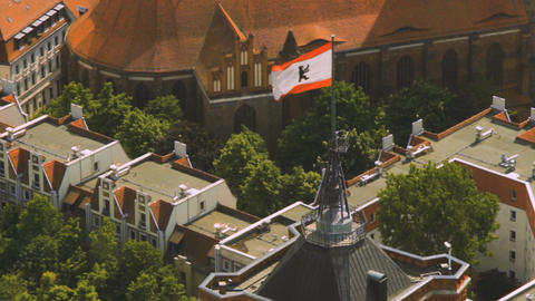 Aerial view of the flag of berlin on the top of Rotes Rathaus building Footage