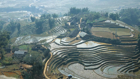 Beautiful view of the rice terraces Footage