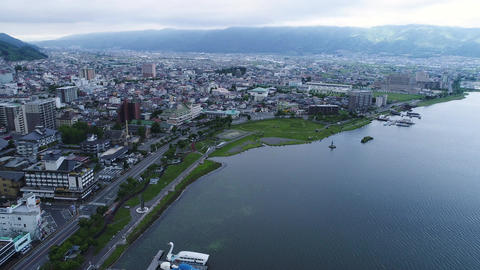 Lake Suwa in Nagano seen from the sky ビデオ