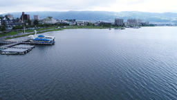Lake Suwa in Nagano seen from the sky Footage