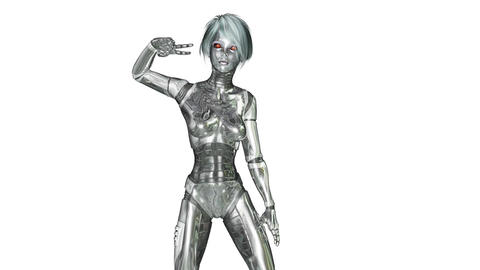 Digital 3D Animation of a dancing female Cyborg Animation