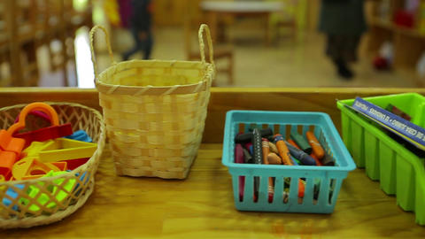 Baskets with children's art supplies Footage