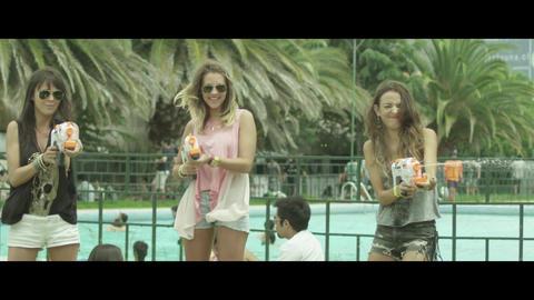 Women spray watergun Footage