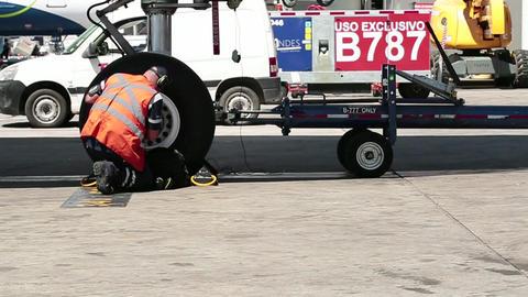 Airplane technician working Footage
