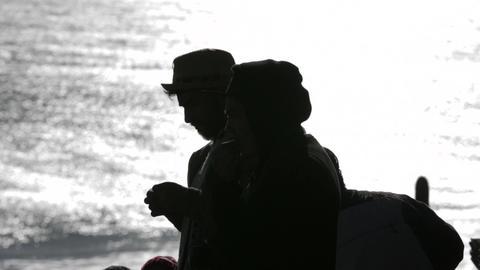 Couple against sea Footage