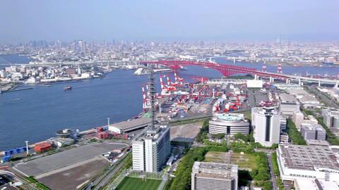 Aerial panoramic view of Osaka city, Japan 画像