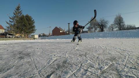 Little boy playing hockey Footage