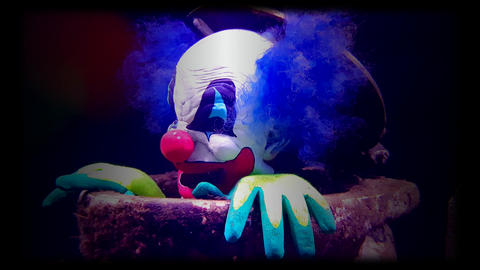 Evil Clown on Black Background Footage