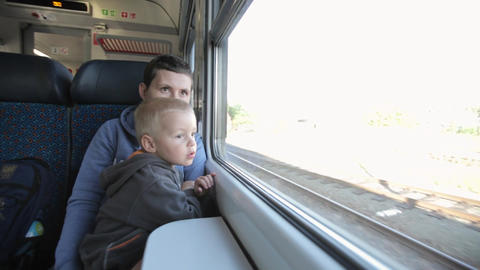 Young family travels by train Footage
