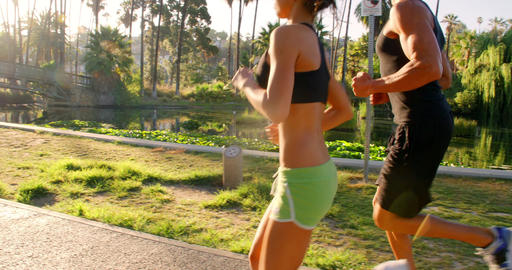 Athlete Couple Jogging Footage
