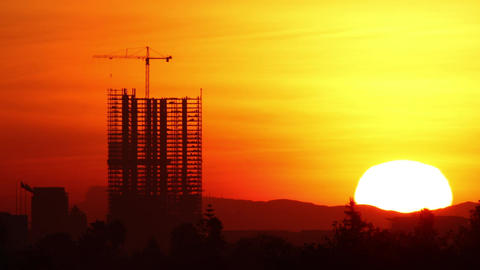 Construction Sunrise Time Lapse Los Angeles Footage