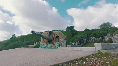 Old Coastal Artillery with Modern Graffiti Footage