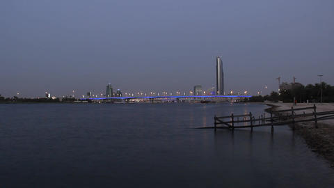 Dark dusk to darkness time lapse, Dubai Creek view, Al Garhoud Bridge Footage