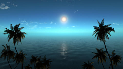 Beautiful moon reflected on the calm water of a tropical beach Animation
