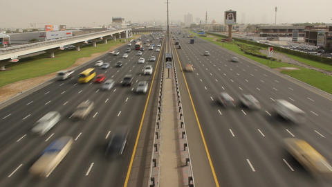Continuous traffic along E 11 highway, Sheikh Zayed road time lapse shot Footage