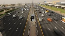 Nonstop traffic at Sheikh Zayed road, time lapse from above carriageway Footage