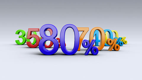 Sale, discount, percentages, special offer. Percentages in color. 4K Animation