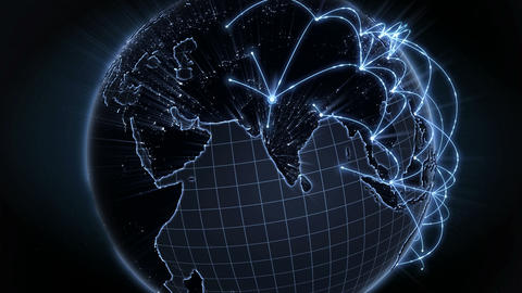 Growing Network Connection Around The World. Global Internet Concept. Blue. 4K stock footage