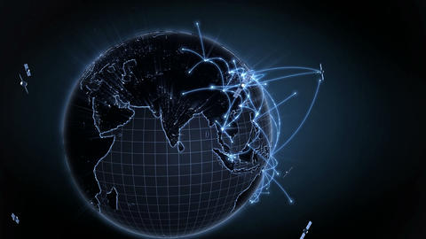 Growing global network. Internet concept, connecting to satellites. 4K Animation