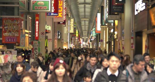 Crowds of Japanese at Dotombori Bridge, Osaka Footage
